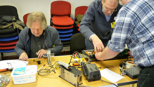 The electronics repair table at Reading Repair Cafe, 19th January 2014. Held at RVA, Highbridge House, Reading